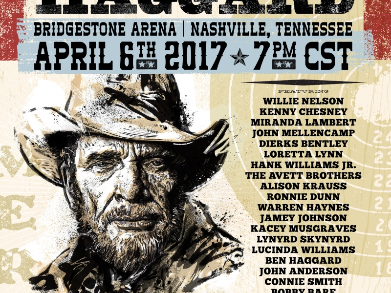 SING ME BACK HOME: THE MUSIC OF MERLE HAGGARD AN ALL-STAR CONCERT CELEBRATION  TO BE HELD AT NASHVILLE'S BRIDGESTONE ARENA ON APRIL 6, 2017