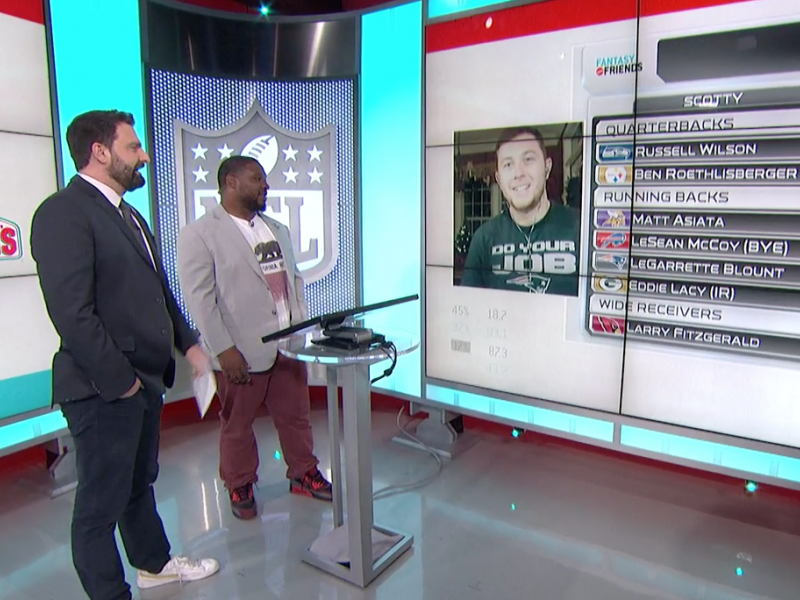 "McCreery (Screen) skypes hosts of ""Fantasy and Friends,"" Dave Dameshek (Left) and Maurice Jones-Drew (Right)"